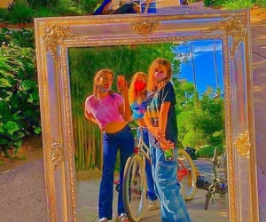 bicycle, girlie, and groovy image