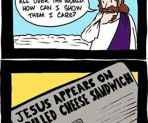 grilled cheese sammich, jesus appears, and jesus pondering image
