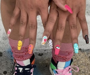 colorful nails, designer, and nike image