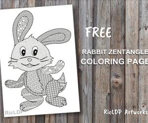 coloring, digital art, and rabbit image