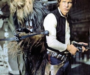han solo, chewbacca, and harrison ford image