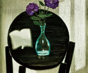 still life, open book, and vase flowers image