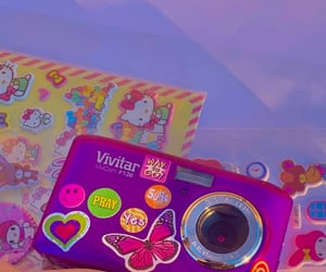 sticker, camera, and purple image