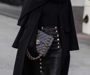 chanel, fashion, and leather skirt image