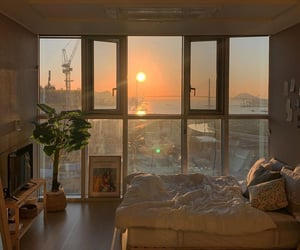 bedroom, room, and sunset image