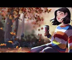 aesthetic, anime, and autumnal image