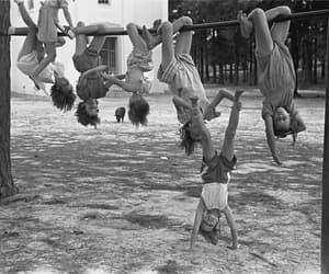 black and white, children, and fun image