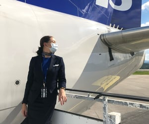 air hostess, aircraft, and brunette image