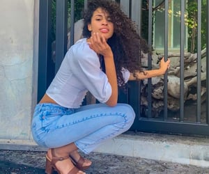 curly hair, model, and outfit image
