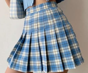 aesthetic, blue skirt, and plaid skirt image