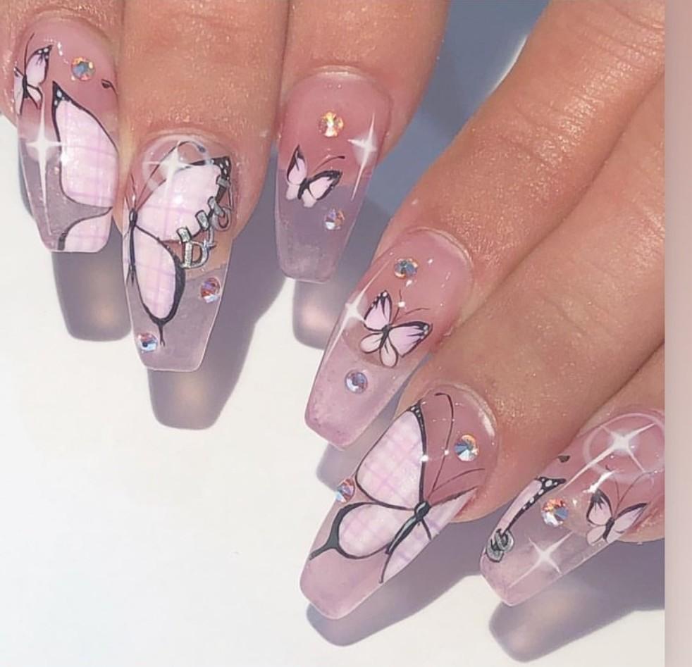 fake nails, nails, and acrylic nails image