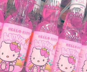 hello kitty, pink, and drink image