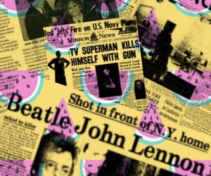 john lennon, newspaper, and watermelon image