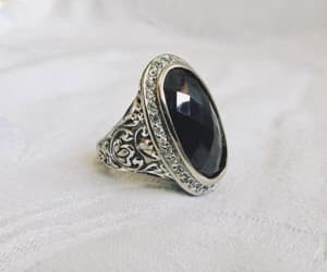 diamond ring, vintage ring, and black ring image