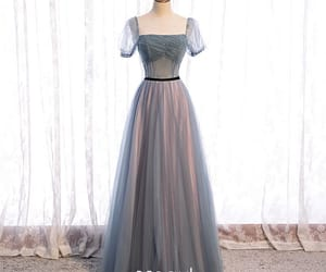 long dress, puffy sleeves, and formal dresses image