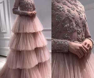 beaded prom dress, dusty pink prom dresses, and tiered prom dress image