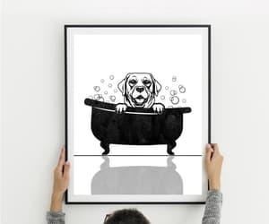 clawfoot tub, dog print, and modern pet art image