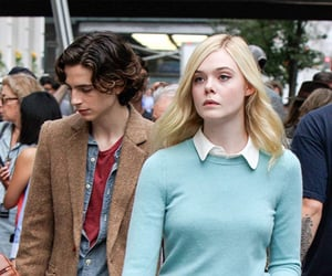 Elle Fanning, a rainy day in new york, and timothee chalamet image