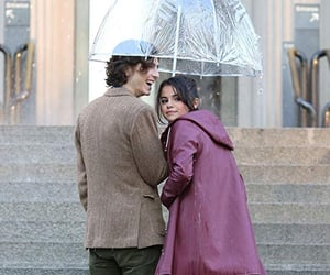 selena gomez, a rainy day in new york, and timothee chalamet image