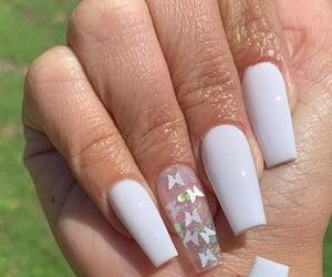 peach, green, and long nails image