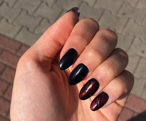 black, black nails, and manicure image