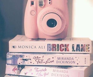 books, pink, and polaroid image