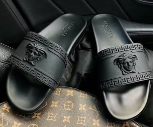 Versace, black, and slippers image