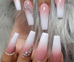 chic girly long, coffin pink white, and acrylic gel nails image