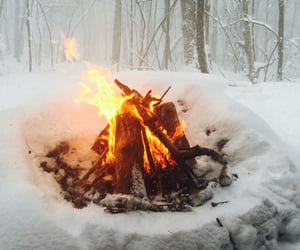 fire, snow, and winter image