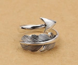 feather, silver, and ring image