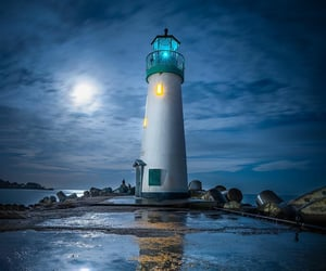 california, lighthouse, and moon image