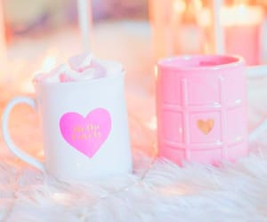 coffee, hearts, and light pink image