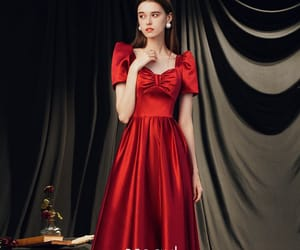 prom dress, red dress, and formal dresses image