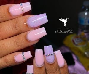 pink nails, short nails, and rhinestone nails image