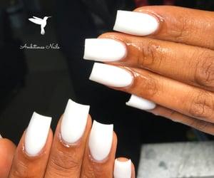 white nails, short nails, and tapered square nails image