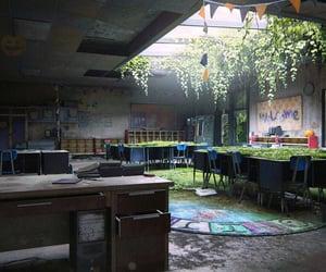 abandoned, classroom, and desks image