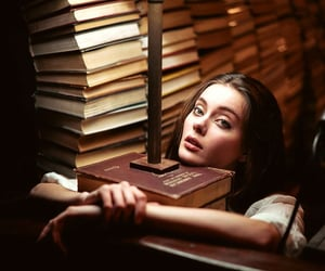books, girls, and photography image