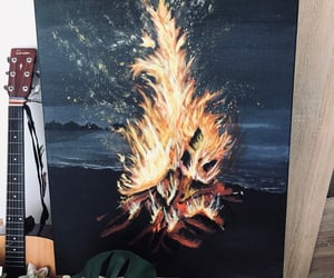 beach, bonfire, and fire image