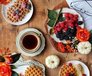 autumn, berries, and cup of tea image