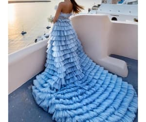 blue prom dress, tiered prom dress, and luxury prom dresses image