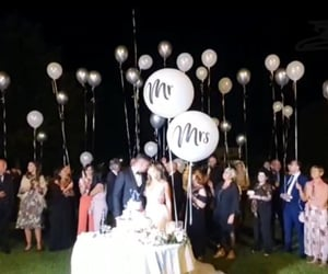 balloon, bride, and couple image