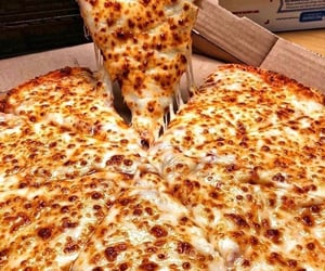 food, cheese, and pizza image
