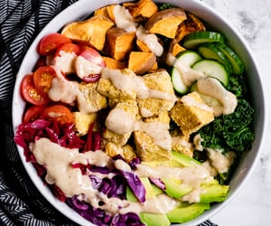 healthy, lunch, and tofu image