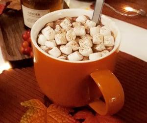 autumn, hot cocoa, and leaves image