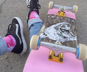 pink, aesthetic, and skate image