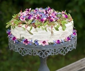 cake, flowers, and pretty image