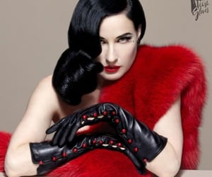 Dita von Teese, gloves, and red image