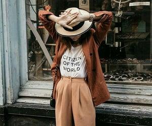 coat, hat, and moda image