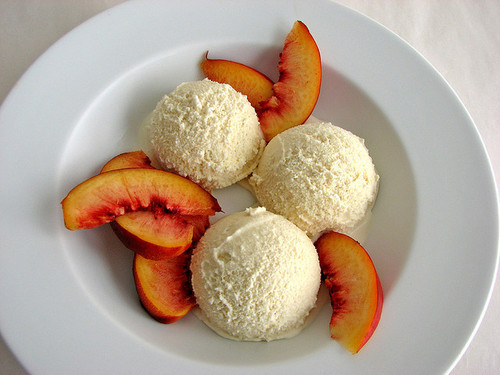 ice cream, peach, and food image