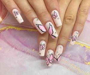 girls, nails, and pink nails image